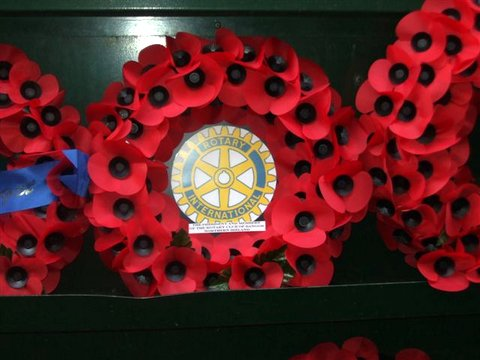 Close up of Rotary wreath